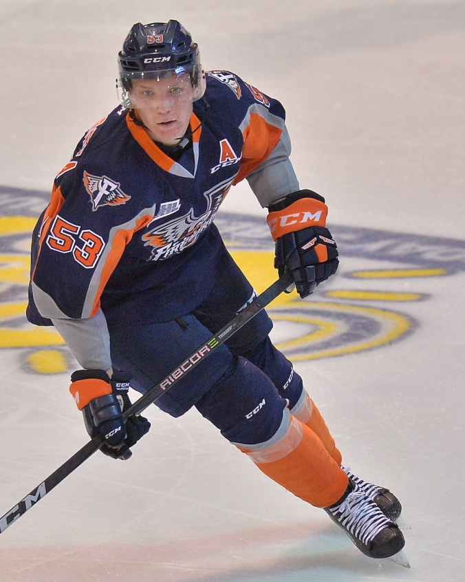 Ty Dellandrea of the Flint Firebirds. Photo by Terry Wilson / OHL Images.